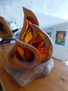 glass and driftwood memorial flames