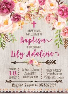Shop Beautiful Pink Floral BAPTISM Invitation created by MakinMemoriesonPaper. Christening Invitations Girl, Bridal Shower Invitations, Custom Invitations, Baptism Party, Girl Baptism, Baptism Ideas, Baby Shower Flowers, Flower Invitation, Brown Things