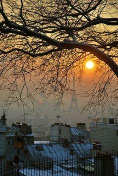 Winter sunset in Montmartre, Paris, France