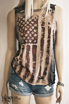 You want American Flag Tops - we've got you covered. Southern Girl Outfits, Country Girls Outfits, 4th Of July Outfits, Summer Outfits, Cute Outfits, American Country, American Flag, Country Apparel, Muscle Tank Tops