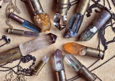 Crystal bullet necklace - weird to combine something so spiritual and healing with a bullet casing. Crystal Pendant, Crystal Jewelry, Crystal Necklace, Quartz Crystal, Silver Jewelry, Bullet Necklace, Bullet Jewelry, Collar Necklace, Jewelry Art