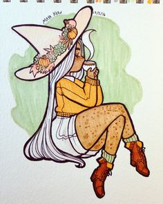 inktober day 2: autumnal pumpkin spice witch. based on suggestions by some patrons. you can submit a suggestion here!