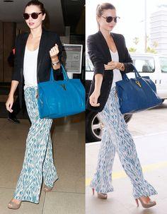 Palazzo pants w/ blazer & structured bag