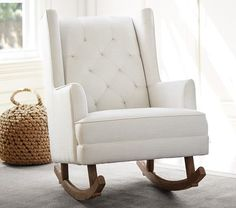 Modern Tufted Wingback Rocker, Linen Blend White