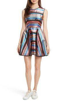 Main Image - Milly Balli Metallic Stripe Fit & Flare Dress