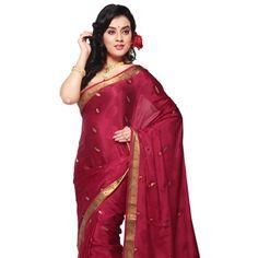 Dark Pink Pure Mysore Silk Saree with Blouse