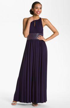 JS Boutique Cutaway Shoulder Beaded Waist Gown   Nordstrom