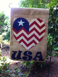 USA Burlap Garden Flag Patriotic Welcome Home by aDOORnaments, $25.00