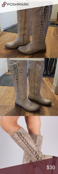 """Taupe vegan leather lace up rider boots. Heel height 1.25""""  Shaft length 16.25"""" including heel Top opening circumference 14.25"""" (approximately) In good condition BAMBOO Shoes Lace Up Boots"""