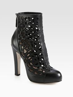 Valentino - Leather Cutout Platform Ankle Boots - Saks.com