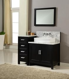 black vanity white basin sink - Google Search