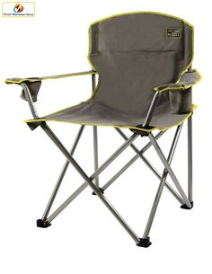 Folding Camp Chair Grey Heavy Duty Outdoor Portable Seat 500 lbs. 2 cup holders #QuikShade