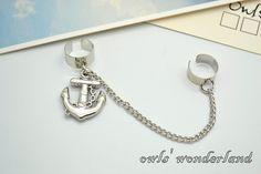 Anchor+Ear+Cuff+Setsilver+anchor+earringssailor+by+owlswonderland,+$2.50