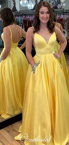Strapes V-neck Yellow Satin Beaded Long Prom Dresses – ClaireBridal - All For Hairstyles DIY Girly Outfits, Chic Outfits, Dress Outfits, Denim Dresses, Fashion Dresses, Easy Updo Hairstyles, Prom Hairstyles, Short Prom, Short Hair