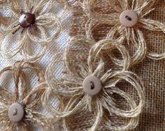 Rustic Burlap Daisy Flower Set of 12 Home Decor by resadavid