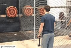 Double axe perfect toss ( perfect toss, sounds like Olympic wanking, as the Russian world champion wanker, tosses himself off to gold medal standard 'Banging' away on target