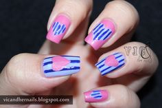 """20. """"Stripes and Heart"""" ~  IDR 65.000 (without nail glue) ~ IDR 70.000 (with nail glue 2gr) *belum termasuk ongkos kirim* ~ Customizable color, nail shape, and nail length ~ Shipped from Jakarta ~ Line/kakao: victoriaoen ~ Instagram: @vicsfakes ~ Facebook: www.facebook.com/vicsfakes ~ Email: vicsfakes@hotmail.com"""