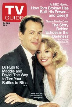 TV Guide, October 1987 - Bruce Willis and Cybill Shepherd of Moonlighting Bruce Willis, Cybill Shepherd, Vintage Tv, Vintage Newspaper, Old Shows, Great Tv Shows, Tv Guide, Me Tv, Nbc News