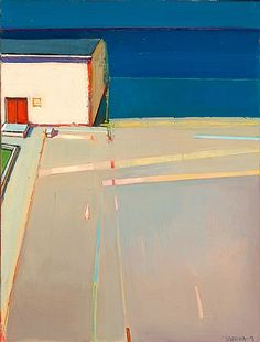 """Raimonds Staprans """"House Wth A Red Door"""" Contemporary Landscape, Contemporary Paintings, Abstract Landscape, Landscape Paintings, Bay Area Figurative Movement, Urban Painting, Art For Art Sake, Plein Air, Figurative Art"""