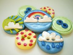 Rainbow Handmade Polymer Clay Button Embellishments