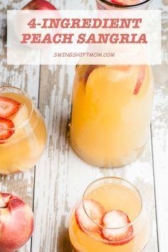 Easy Fruit Sangria Recipe, Peach Sangria Recipes, White Peach Sangria, Fresh Peach Recipes, Peach Juice, Recipes With Peaches, White Wine Sangria, White Sangria Recipe With Moscato, Margarita Recipes