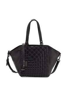BADGLEY MISCHKA Frankie Quilted Leather Satchel Bag, Black. #badgleymischka #bags #shoulder bags #hand bags #leather #satchel #lining #
