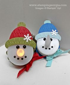 Adorable Tealight Snowmen with DIY Reusable Gift Boxes with Stampin' Up! Tiny Treat Boxes! www.stampingeorgia.com