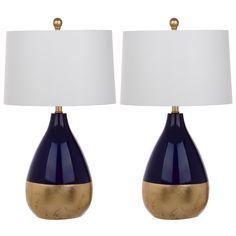 Safavieh Lighting Kingship 24-Inch Navy And Gold Table Lamp (Set of 2) (LIT4502A-SET2), Blue (Metal)