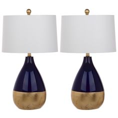 Safavieh Lighting Kingship 24-Inch Navy And Gold Table Lamp (Set of 2) (LIT4502A-SET2), Blue (Metal)