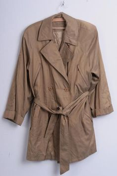 Maura Essentials Womens 38 M Coat Double-Breasted Gold Trench Nylon Waterproof - RetrospectClothes