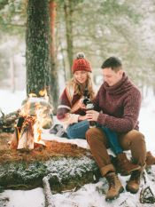 Happy couple near the fire #winter #love