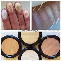 More #Swatches ✨ and the 4th shade revealed ✨ : #MACInTheSpotlight @maccosmetics  Need them all + Backups !!!!!✨ #Love the formula of MAC Extra Dimension #SkinFinish - Bottom pic (Clockwise): Double Gleam /Show Gold / Soft Frost / Beaming Blush #ComingSoon October - November  we will keep u updated  Can't wait for these to come out!!!! What about u?  #Trendmood #mac #maccosmetics #cosmetics #glow #shimmer #bbloggers #instabeauty #fashion #maquillaje #makeup #makeuplover #make...