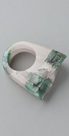 Jody Candrian Jewelry Quartz & Raw Emerald Ring