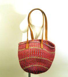 Sisal Purse Vintage 1980s Woven Stripe Jute Bag Black and Tan Tote. $38.00, via Etsy.