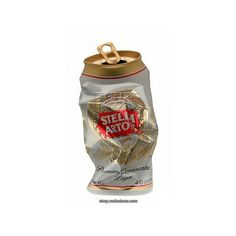 Crushed can of Stella Artois Lager. Rex Features ❤ liked on Polyvore featuring fillers, food, alcohol, drinks and food and drink
