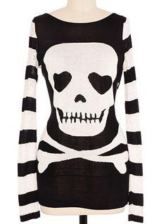 Love Sick Skull Striped Sweater at PLASTICLAND