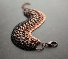 Ombre Multistrand Bracelet with Chunky Copper and by BevaStyles