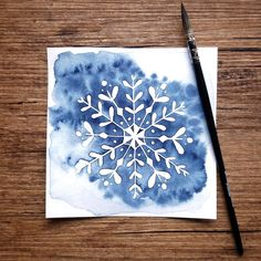 This was my first time using fluid. I love it! ❄ love it. Watercolor Christmas Cards, Christmas Card Crafts, Christmas Drawing, Christmas Paintings, Watercolor Cards, Christmas Colors, Xmas Cards, Christmas Art, Watercolor Painting Techniques
