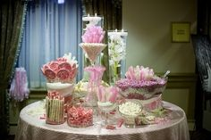 candy buffet..don't put out till a little later... kids will come by and start grabbing stuff and mess it up,  before the bride and groom get to the recption (Patti said:)