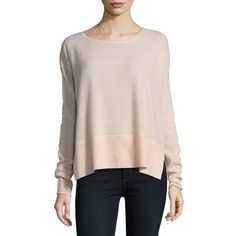Lord & Taylor Women's Boxy Wide Cashmere Rib Top ($161) ❤ liked on Polyvore featuring tops, ebony, ribbed long sleeve top, boxy tops, long sleeve tops and ribbed top