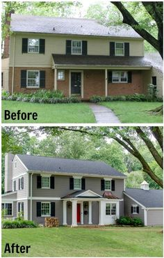 24 ideas for house exterior remodel before and after paint colors. 24 ideas for house exterior remodel before and after paint colors. Café Exterior, Design Exterior, House Paint Exterior, Exterior Remodel, Exterior Paint Colors, Exterior House Colors, Cottage Exterior, Paint Colours, Exterior Signage