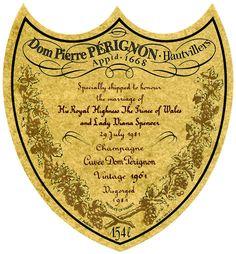 La etiqueta del Doom Perignon de la boda del Príncipe Carlos y Diana. Dom Perignon, Veuve Clicquot, Lady Diana, Case Study, Champagne, Personalized Items, Curiosity, Beverage, Branding
