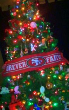 Yes, that is a forty niner Christmas tree :) forever faithful!!!!!