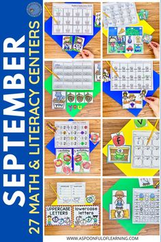 I can't wait to start to add in these September math and literacy centers! Here is a peek at some of the September literacy centers for kindergarten that are included. They are packed with hands-on and interactive activities that have students practicing so many different and important skills. Each center activity includes an 'I Can' kid friendly poster for student independence and a recording sheet to show their work. You can check out all 27 September math and literacy centers here.