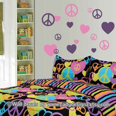 Peace Signs and Hearts Vinyl Wall Decals - Childrens Decor - Girls Room Decor - Teen Wall Art - Wall Stickers - 8 Hearts and 8 Peace Signs. $15.95, via Etsy.