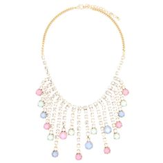 """WILLOW BIB NECKLACE (MORE COLORS)  LOBSTER FINISHED SIZE: 16""""+3"""" EXTENSION MATERIAL: PLATED BASE METAL, ACRYLIC, CRYSTAL COLOR: GOLD. PASTEL MULTI MIXED GOLD. BLUE MULTI MIXED GOLD. NEON MULTI MIXED"""
