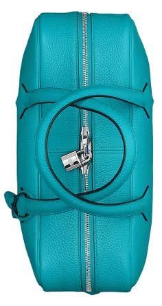 Hermes - Victoria II, Turquoise Leather Handbag. Pic2