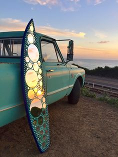 Glass mirror mosaic surfboard - Cardiff - Beyond Tile