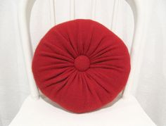 Red Round Cashmere Throw Pillows / Accent Decorative Pillow /