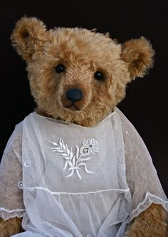 Humble-Crumble bear in an antique tulle baby dress